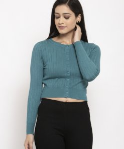Green Coloured Cardigan by Global Republic