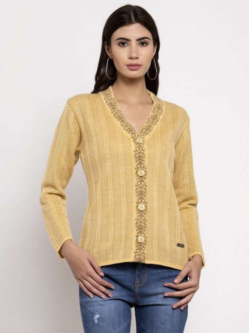 Yellow Coloured Cardigan by Global Republic