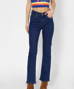 ONLY DARK BLUE HIGH RISE FLARED JEANS