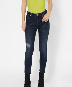 ONLY DARK BLUE HIGH RISE SKINNY FIT DISTRESSED JEANS