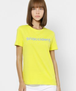 ONLY YELLOW SNACCIDENT TEXT PRINT T-SHIRT