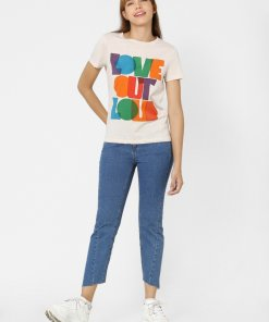 ONLY BEIGE LOVE OUT LOUD TEXT PRINT T-SHIRT