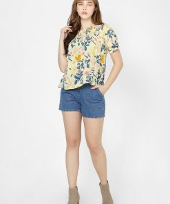 ONLY YELLOW FLORAL SMOCKED TOP
