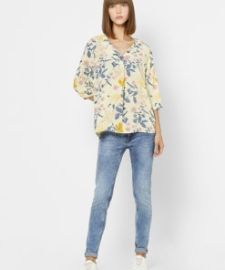 ONLY YELLOW FLORAL V NECK TOP