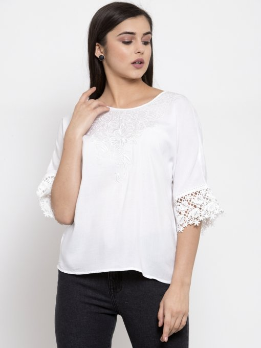 GLOBAL REPUBLIC WOMEN EMBROIDERED WHITE TOP WITH ROUND-NECK