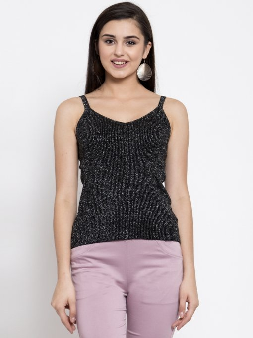 GLOBAL REPUBLIC WOMEN BLACK KNITTED TANK TOP WITH SILVER SHEEN