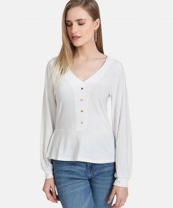 KAZO Peplum Jersey Top With Front Button Detail