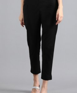 W Black Solid Trousers