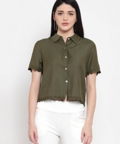 GLOBAL REPUBLIC WOMEN SOLID OLIVE SHIRT WITH FLORAL HEMLINE