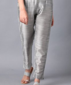 W Silver Solid Trousers