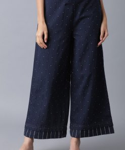 W Navy Blue Yarn Dyed Polka Parallel Pants