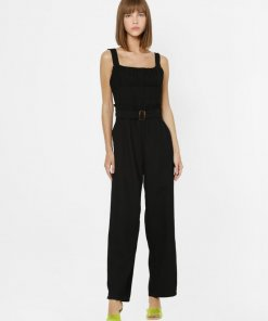 ONLY BLACK PLEATED DETAIL JUMPSUIT