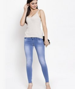 GLOBAL REPUBLIC WOMEN LIGHT BLUE WASHED SKINNY FITTED JEANS