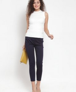 GLOBAL REPUBLIC WOMEN NAVY CHECKED STRETCHABLE JEGGING
