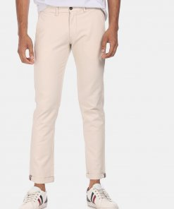Arrow Men Beige Mid Rise Solid Casual Chinos