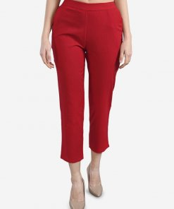 Be Indi Maroon Women solid straight Pant with Pocket