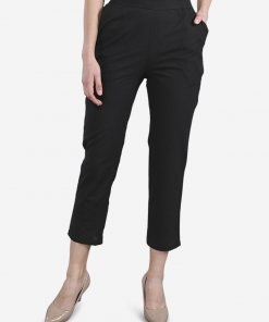 Be Indi Black Women solid straight Pant with Pocket