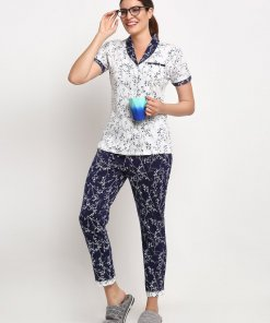 GLOBAL REPUBLIC WOMEN NAVY BLUE AND WHITE SHIRT COLLAR PRINTED NIGHT SUIT