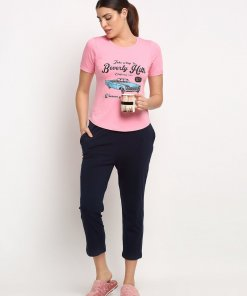 GLOBAL REPUBLIC WOMEN PINK AND NAVY BLUE ROUND NECK PRINTED NIGHT SUIT