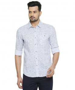 Mufti White-Sky Relaxed Animal Printed Full Sleeves Shirt