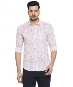 Mufti White-Pink Relaxed Animal Printed Full Sleeves Shirt