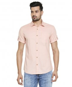Mufti White Solid Casual Half Sleeves Shirt