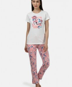 Monte Carlo Womens Off White & Pink Printed Lower Sets