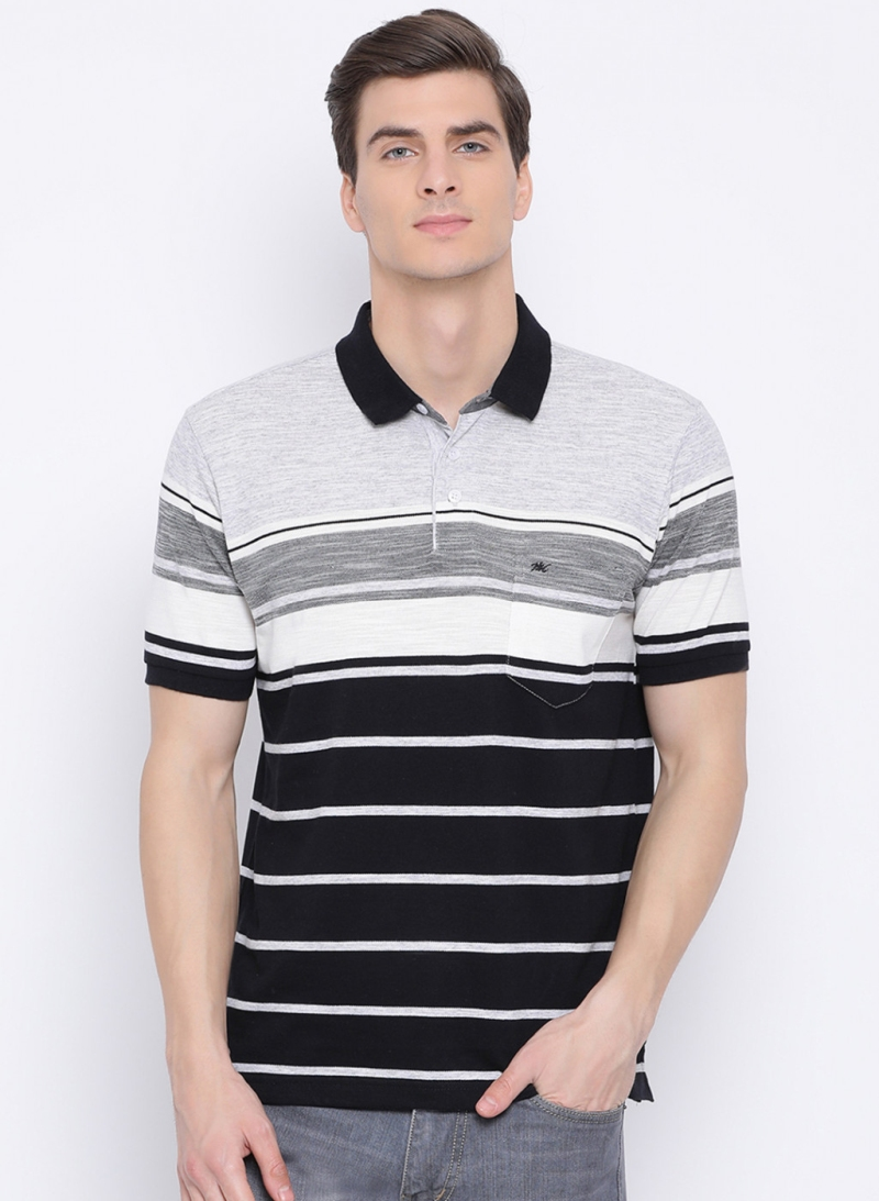Monte Carlo Black Grey Stripe T-shirt