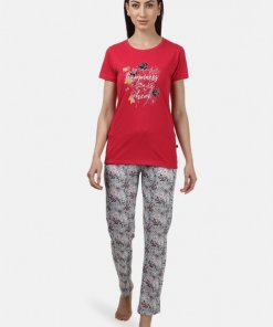 Monte Carlo Womens Red & Off White Printed Lower Sets