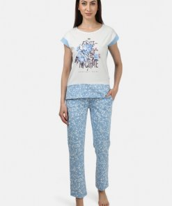 Monte Carlo Womens Off White & Blue Printed Lower Sets