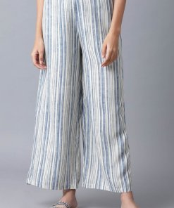 W Blue and White Printed Parallel Pants