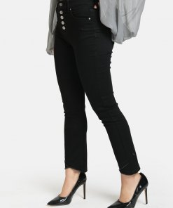 Kazo BUTTON DETAILED JEANS WITH CROSS FRINGE HEM