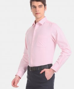 Arrow Men Pink Rounded Cuff Patterned Formal Shirt