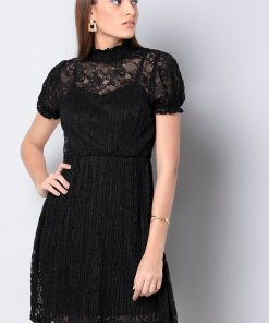 Faballey Black High Neck Pleated Lace Dress