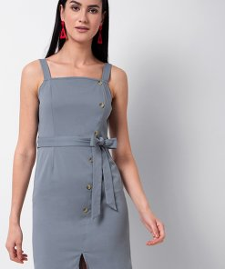 Faballey Grey Buttoned Strappy Shift Dress with Fabric Belt