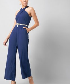 Faballey Blue Front Cross Halter Jumpsuit with Gold Belt