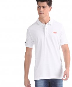 FLYING MACHINE White Solid Pique Polo Shirt
