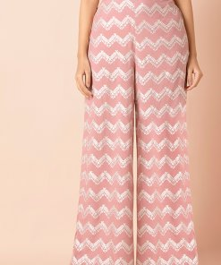 INDYA Blush Foil Straight Palazzo Pants with Pockets