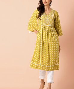 INDYA Olive Embroidered Yoke Bell Sleeve A-Line Tunic