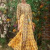 INDYA Yellow Floral Side Tiered Buttoned Maxi Tunic