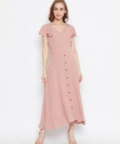 Madame Dusty Pink Color Dress For Women