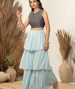 INDYA Payal Singhal for Indya Navy Triangle Embroidered Crop Top