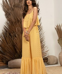 INDYA Payal Singhal for Indya Yellow Embroidered Strappy Flared Top