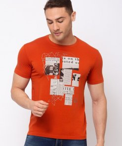 Status Quo Chest Print Round Neck T-shirt with HD Print