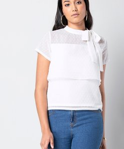 Faballey White Swiss Dot Tie Neck Tiered Top