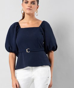 Faballey Navy Buckle Belted Puff Sleeve Top
