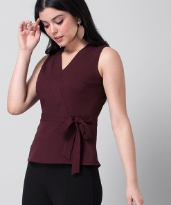 Faballey Wine Side Knot Top