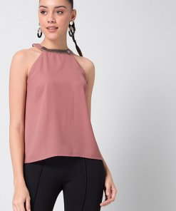 Faballey Dusty Pink Embellished Halter Top