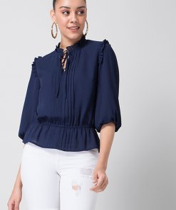 Faballey Navy Frilled Top