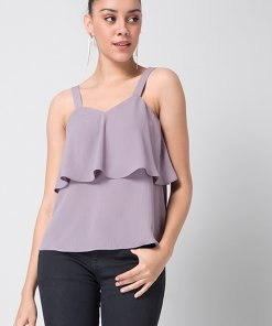 Faballey Purple Strappy Layered Top